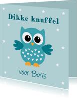 Kinderkaarten - Kinderkaart uiltje sterren blauw