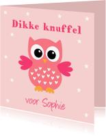 Kinderkaarten - Kinderkaart uiltje sterren roze