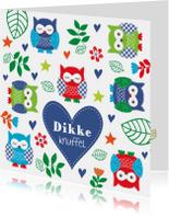 Kinderkaarten - Kinderkaart uiltjes blauw jongen