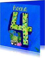 Verjaardagskaarten - Kinderverjaardag jongen 4 jaar
