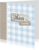 Geboortekaartjes - Klassiek ruitje en kraftpapier