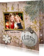 Kerstkaarten - klassieke foto kerstkaart - hout en glitter