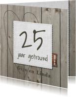 Jubileumkaarten - Klassieke houten 25 jarige jubileumkaart