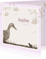 Geboortekaartjes - Kleine eend - roze