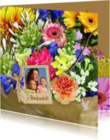 Bloemenkaarten - Kleurige bloemenkaart met mooi boeket en foto
