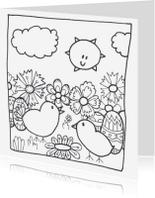 Kleurplaat kaarten - kleurkaart kuikentjes