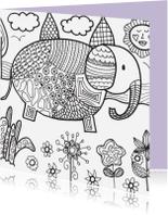 Kleurplaat kaarten - Kleurkaart olifant