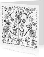 Kleurplaat kaarten - Kleurplaat folklore uiltjes