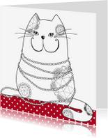 Kleurplaat kaarten - Kleurplaat kaart kat blingbling