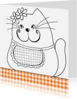 Kleurplaat kaarten - Kleurplaat kaart kat bloem