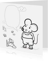 Kleurplaat kaarten - Kleurplaat kaart met muis