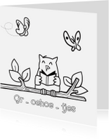 Kleurplaat kaarten - Kleurplaat kaart uil leest