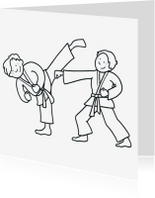 Kleurplaat kaarten - Kleurplaat Karatejongens