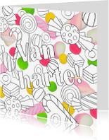 Kleurplaat kaarten - Kleurplaat met snoep