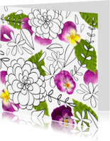 Kleurplaat kaarten - Kleurplaat met viooltjes