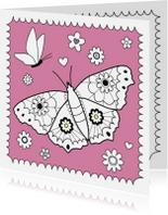 Kleurplaat kaarten - Kleurplaat-Vlinder Bloemetjes-HK