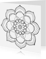 Kleurplaat kaarten - Kleurplaat volwassenen mandala