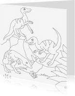 Kleurplaat kaarten - kleurplaatkaart dino groep- MT