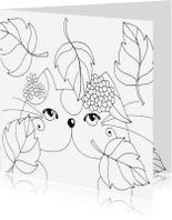 Kleurplaat kaarten - Kleurplaatkaart Kat in de herfst - SK