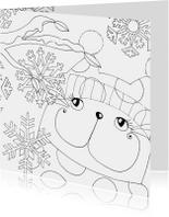 Kleurplaatkaart kat in de winter - SK