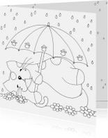 Kleurplaat kaarten - Kleurplaatkaart kat onder paraplu - SK