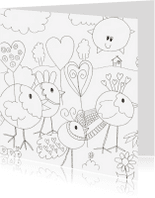 Kleurplaat kaarten - kleurplaatkaart vogel met hartje