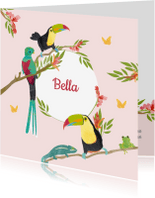 Geboortekaartjes - Kleurrijk geboortekaartje vogels