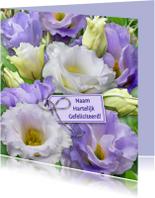 Verjaardagskaarten - Kleurrijke bloemen blauw en wit