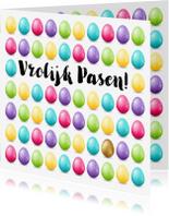 Paaskaarten - Kleurrijke Paaskaart met een heleboel low poly eitjes