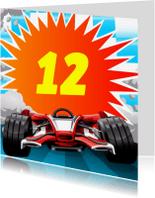 Verjaardagskaarten - knallende leeftijd kaart met race auto