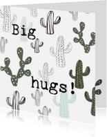 Knuffel een Cactus-kaart 'BIG HUGS!'