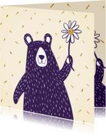Kinderkaarten - Knuffelbeer met glitter