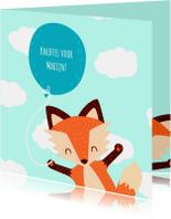 Kinderkaarten - Knuffelvos met ballon