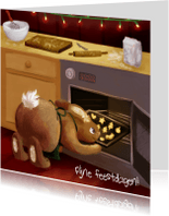 Kerstkaarten - Konijn bakt kerstkoekjes