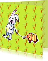 Dierenkaarten - Konijn met olifant en wortels