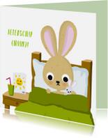 Beterschapskaarten - Konijn ziek in bed