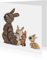 Kinderkaarten - Konijnen kaartje vacht