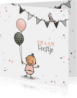 Uitnodigingen - Kraamfeestje meisje ballon