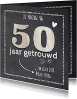 Krijtbord 50 jaar huwelijk - hout cijfers
