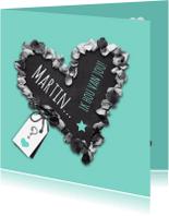 Valentijnskaarten - Krijtbord hart met foto