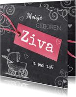 Geboortekaartjes - Krijtbord meisjes geboortekaart