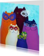 Kunstkaarten - Kunstkaart Katten carnaval Venetie