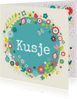 Liefde kaarten - Kusje met bloemen