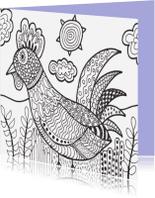 Kleurplaat kaarten - Lente vogel kaart