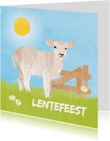 Communiekaarten - Lentefeest uitnodiging lammetje