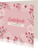 Communiekaarten - Lentefeest uitnodiging stijlvol en hip met bloemen
