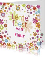 Communiekaarten - lentefeestje bloemen tekst