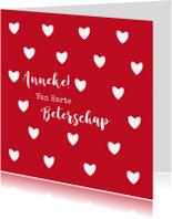 Beterschapskaarten - Leuke beterschapskaart witte hartjes op rode achtergrond
