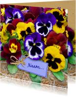 Bloemenkaarten - Leuke bloemenkaart met gele en blauwe Violen