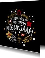Leuke grafische nieuwjaarskaart met sterren, bloem en pakjes